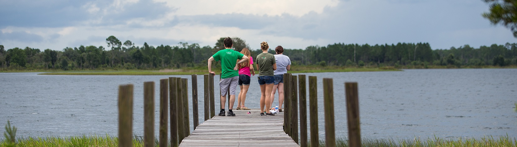 4-H youths enjoy the scenery from and activities on a dock at camp