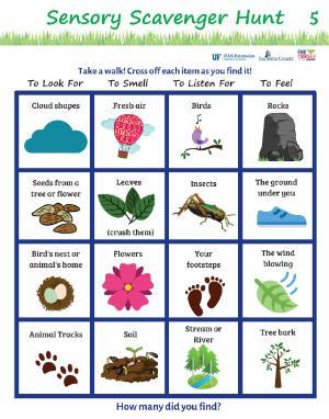 image of first page, sensory scavenger hunt activity
