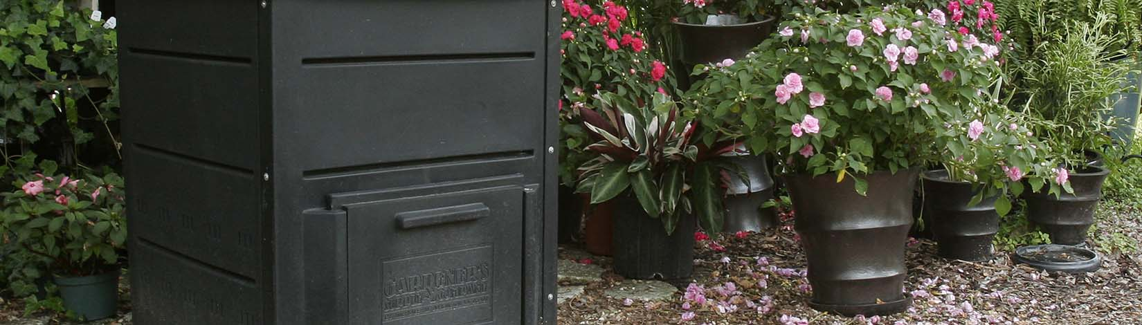 Composter in a garden for vermicomposting